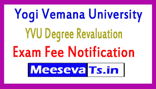 Yogi Vemana University YVU Degree Revaluation Exam Fee Notification