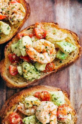 Shrimp Avocado Garlic Bread - Recipe Easy