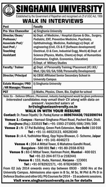 singhania university recruitment 2014 walk in interview