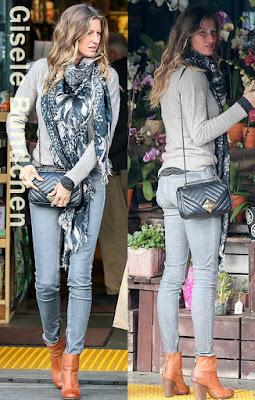 ジゼル・ブンチェン(Gisele Bundchen)は、シャネル(Chanel)のショルダーバッグ、ラグアンドボーン(Rag & Bone)のアンクルブーツを着用。
