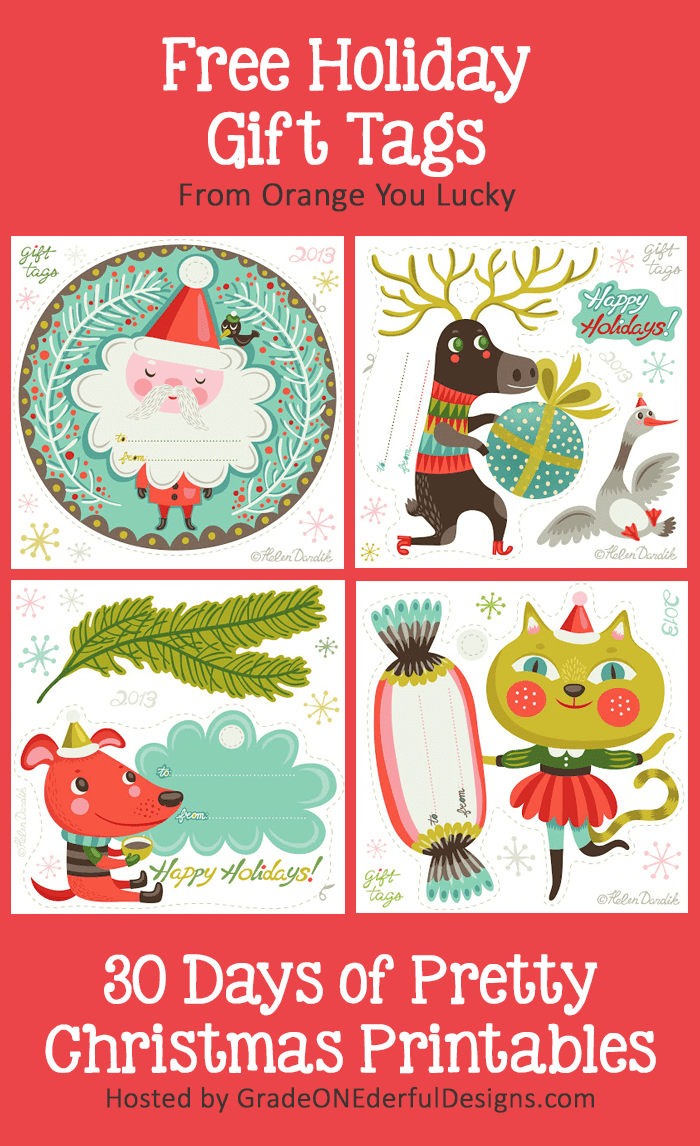 Gorgeous FREE Holiday Gift Tags from Orange You Lucky. Hosted by GradeONEderfulDesigns.com