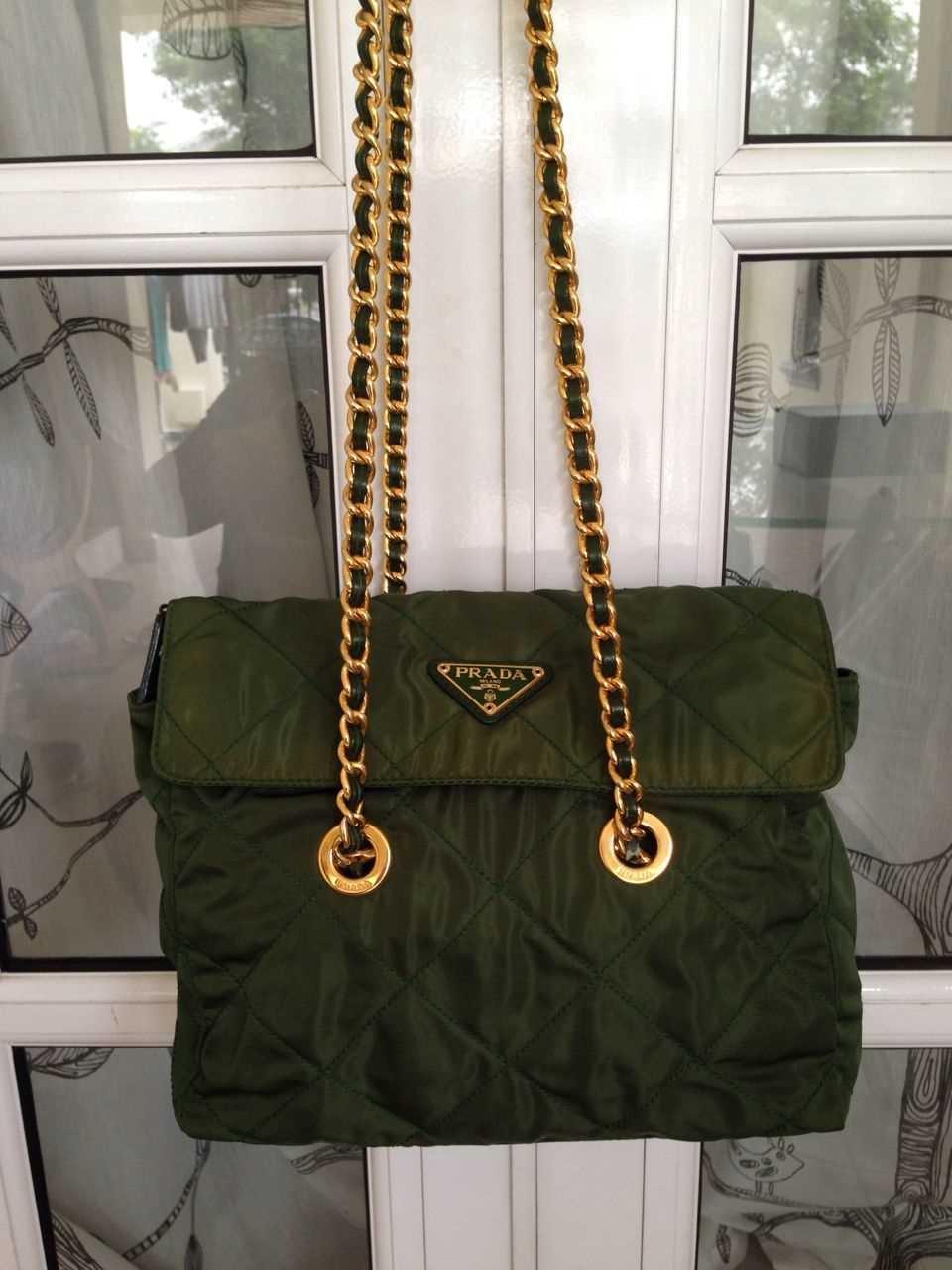 101445ed4d38 ... official authentic prada quilted green nylon chain bag 5ffad a8538  germany prada tessuto impuntu quilted nylon shoulder chain handbag bl0910  black ...