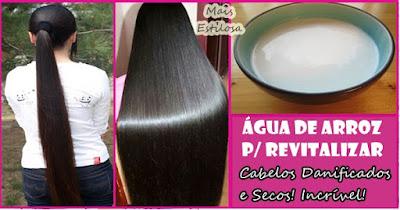 água de arroz para revitalizar cabelos danificados