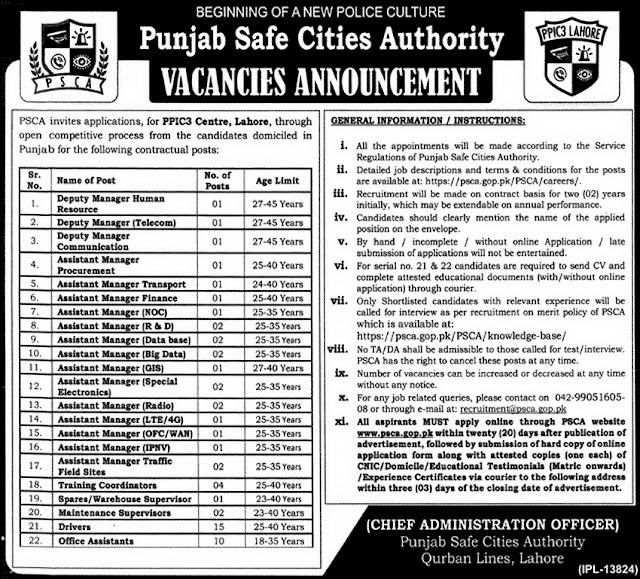 Government Jobs in Punjab Safe Cities Authority Jobs 2017