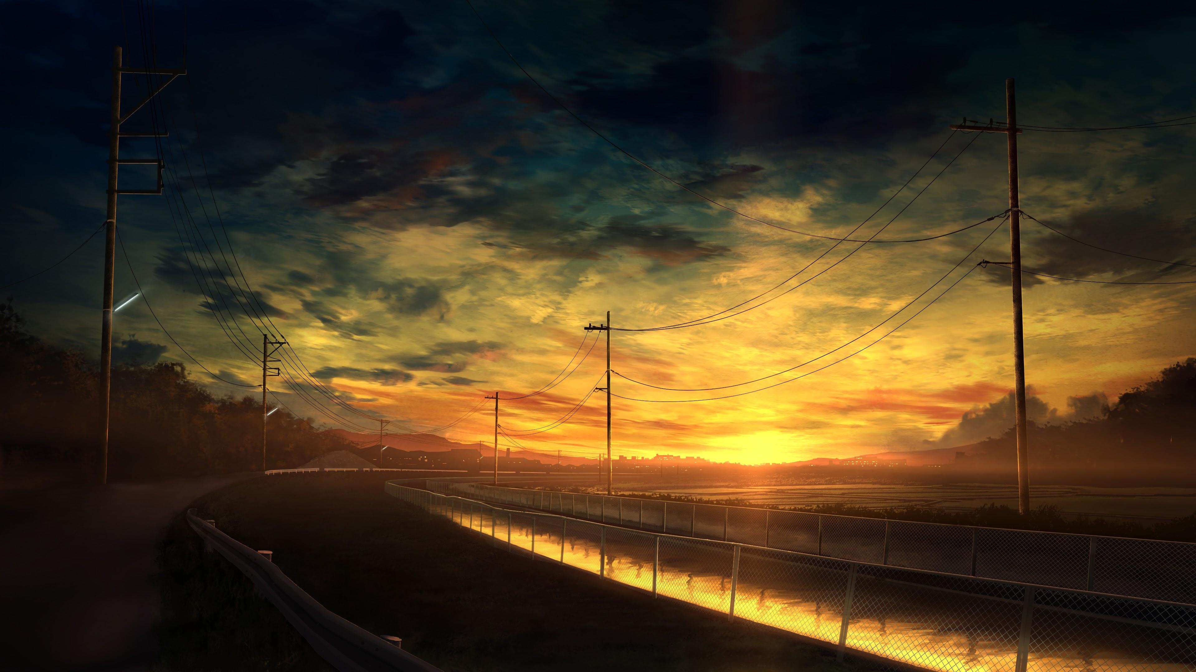 Anime, Scenery, Sunset, Landscape, 4K, 3840x2160, #44 ...