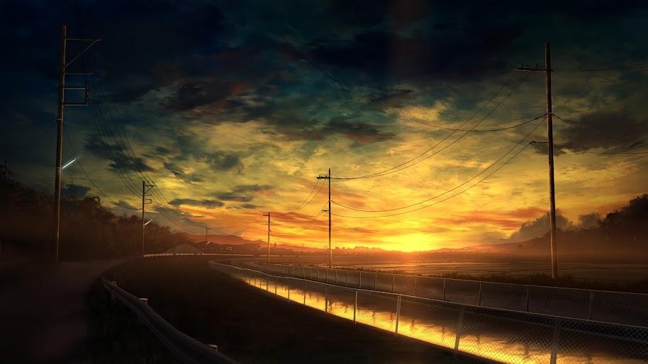 Anime, Scenery, Sunset, Landscape, 4K, 3840x2160, #44