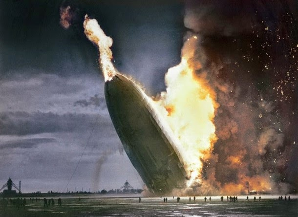28 Realistically Colorized Historical Photos Make the Past Seem Incredibly Alive - Hindenburg Disaster, 1937