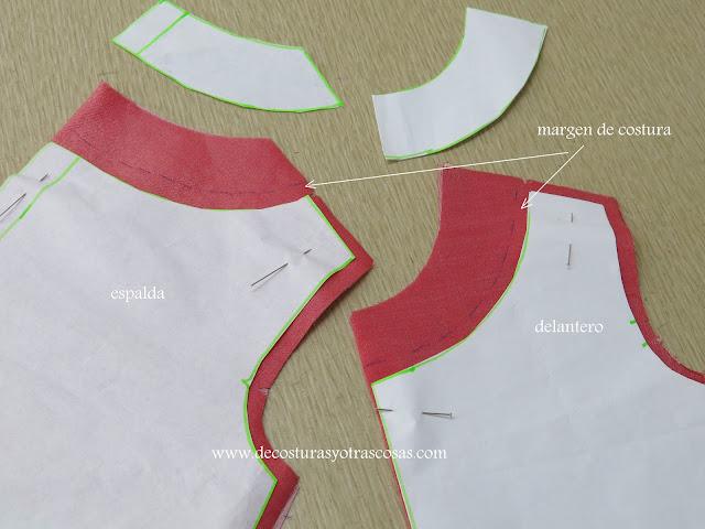 patrón con trazado para escote aplicado