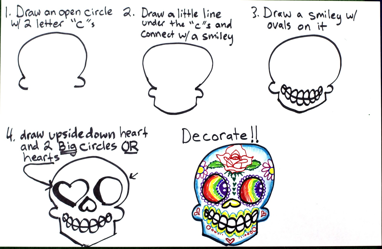 Super Simple Step By Sugar Skulls Drawing