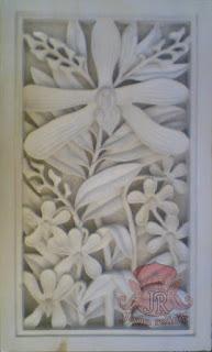 Relief batu alam paras jogja motif bunga