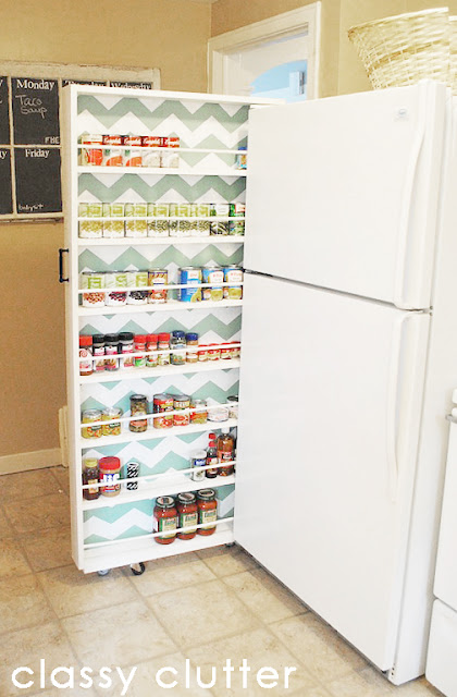 pantry on wheels that fits between the refrigerator and wall.
