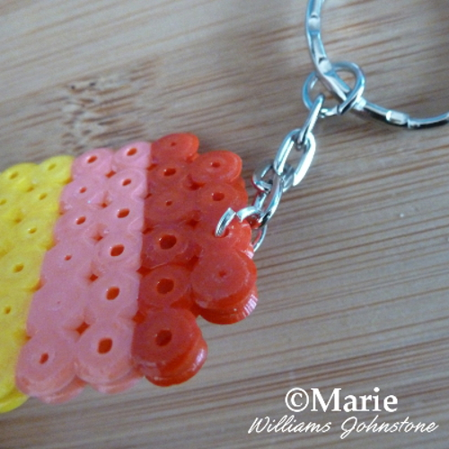Attaching a key chain keyring finding to a fused bead design Perler Hama beads craft