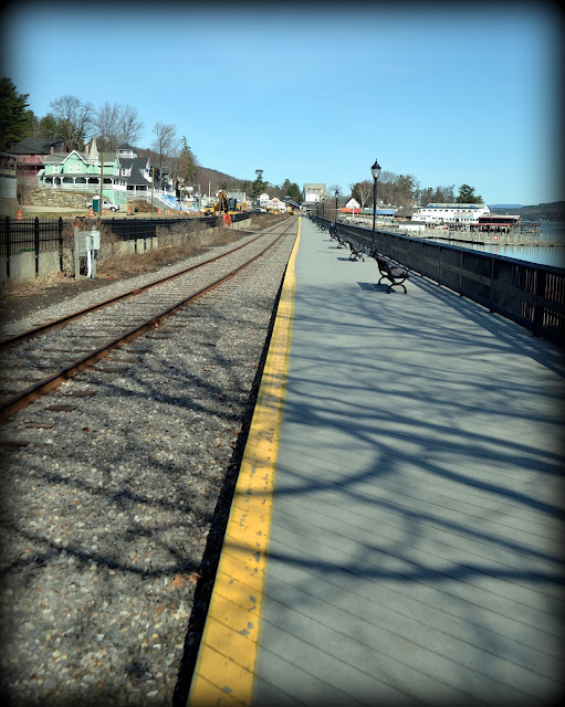 Weirs Beach, Railroad, Tracks, Station, Laconia, New Hampshire, shadows