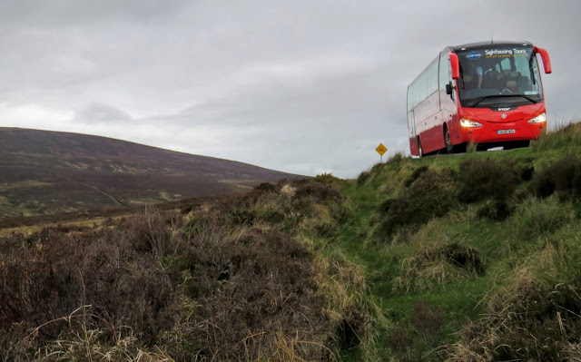 Wicklow Mountains Tour - Citysightseeing Bus parked on the side of the narrow road