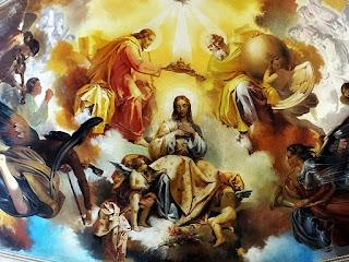 Pintura de Aldo Locatelli no teto da Catedral de Santa Maria: Deus, Jesus e Nossa Senhora