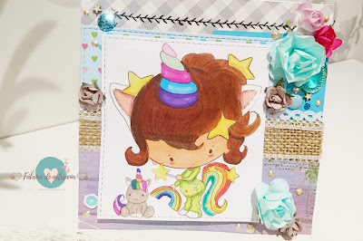 Tarjeta unicornio pijama y peluche con ramita blanca 2
