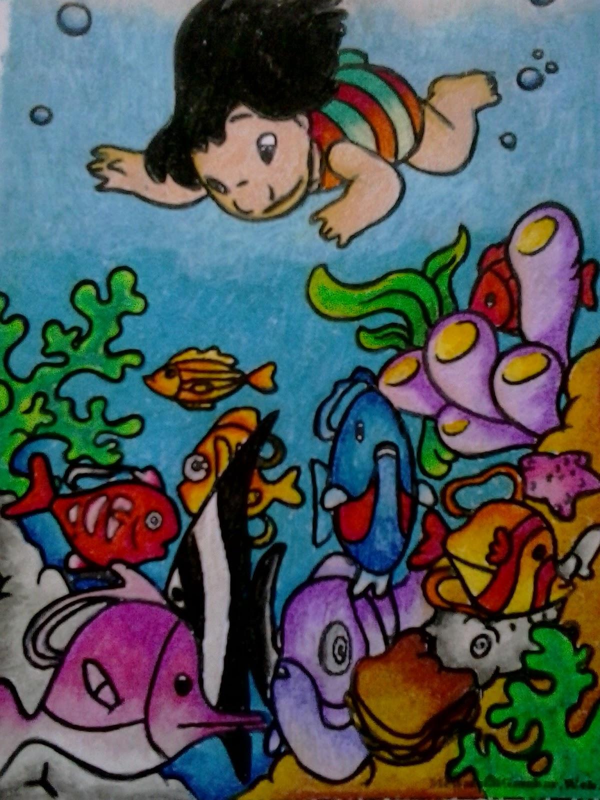 Contoh Mewarnai Dengan Crayon Simple Mom