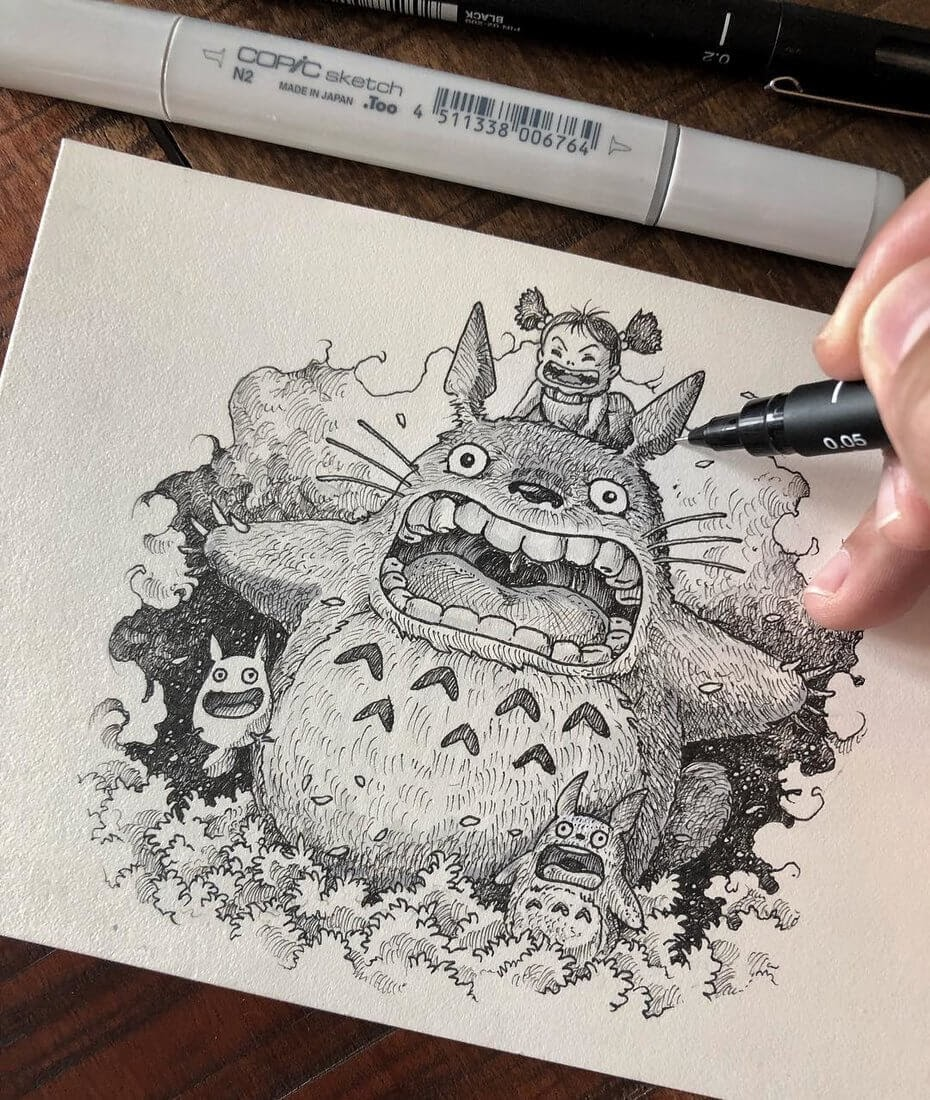 09-My-Neighbor-Totoro-Kerby-Rosanes-Detailed-Fantasy-Ink-Drawings-www-designstack-co