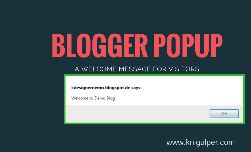 blogger popup message