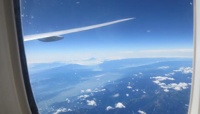 Blick auf den Fuji beim Landeanflug nach Tokio