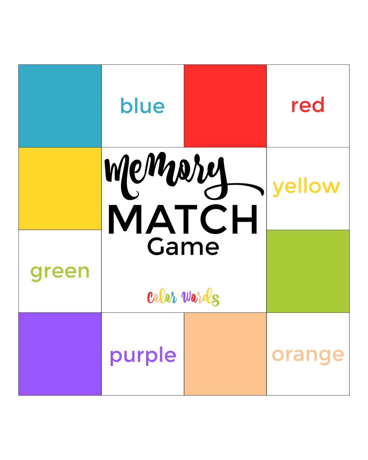 picture regarding Printable Match Games referred to as The Existence of Jennifer Sunrise: Printable: Colour Memory Video games