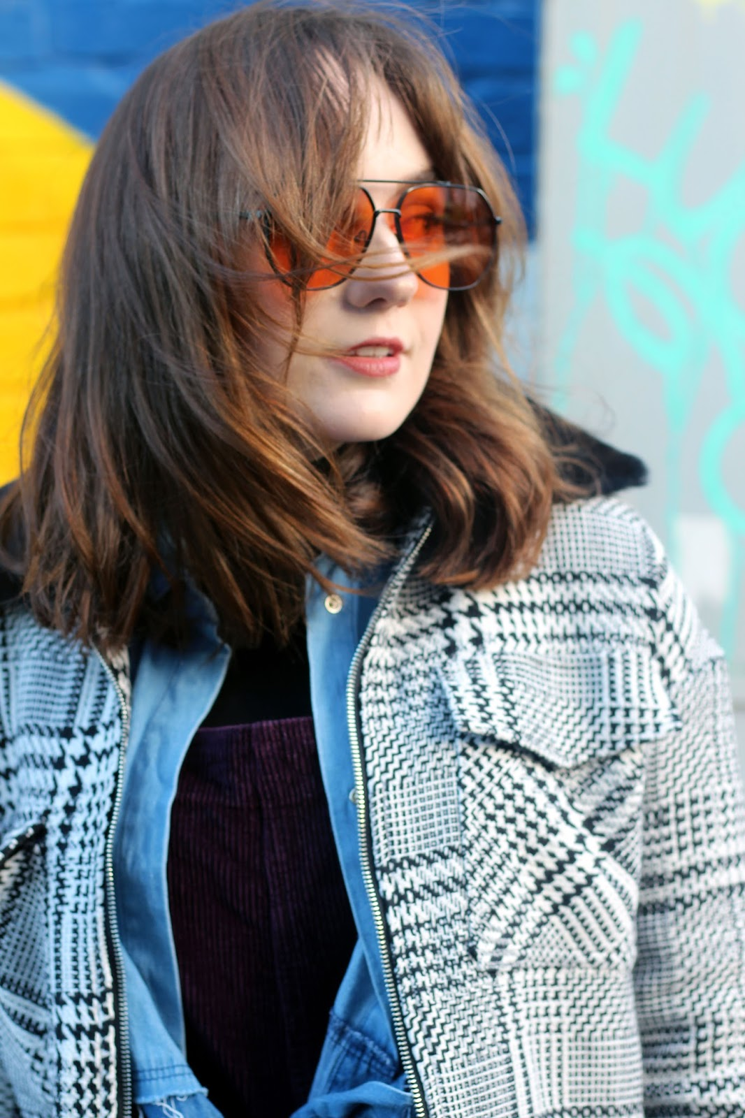 Liverpool fashion blogger portrait with orange tint aviator 70s style sunglasses from ASOS