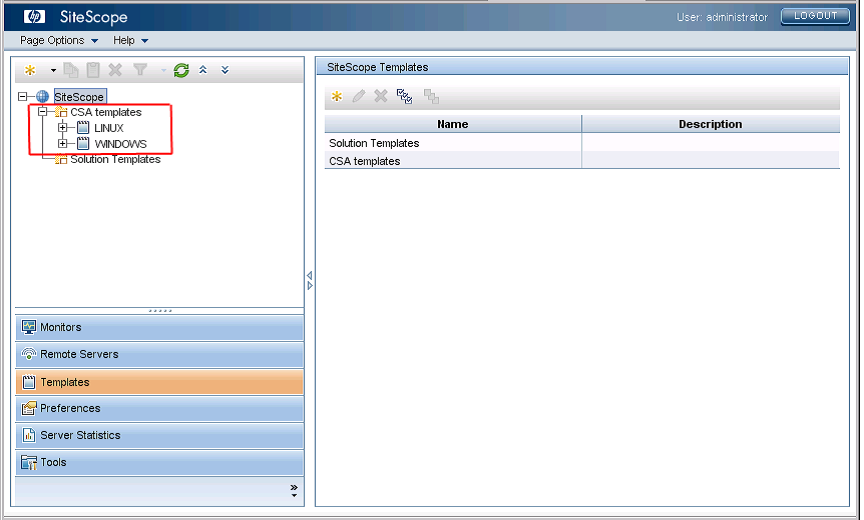 Hp csa implementation for Sitescope templates