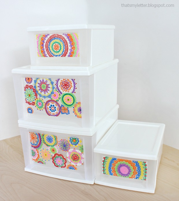 Sharpie paint markers on plastic drawers
