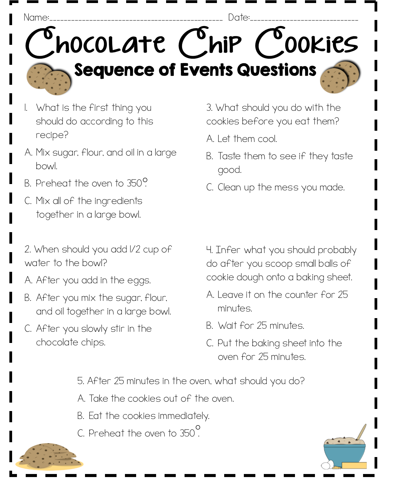 Early Sequence Worksheet