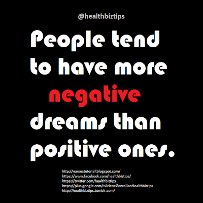 People tend to have more negative dreams than positive ones.