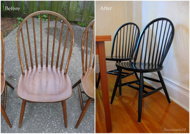Dining chairs - Before and after black Paint