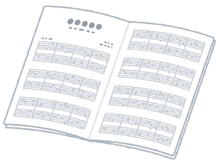 楽譜のイラスト(開いた状態)