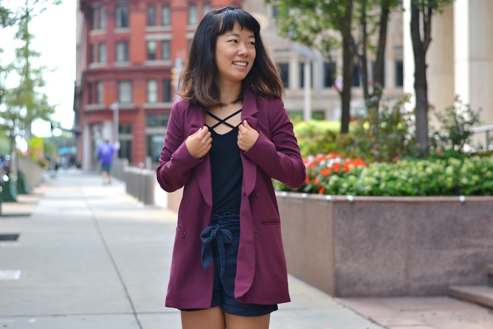 maroon blazer outfit, black criss cross shirt outift