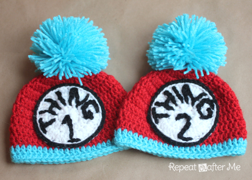 2eb3ab6e373 Thing 1 and Thing 2 Crochet Hats - Repeat Crafter Me