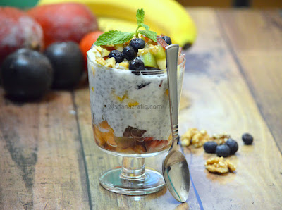 Fruit Chia seeds basil seeds Parfait