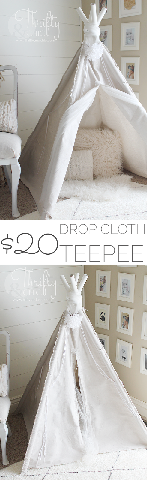 DIY drop cloth teepee for only $20! Cute kids teepee, perfect for the playroom!