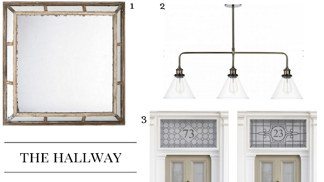 The hallway edit, mirror, pendanr and window film