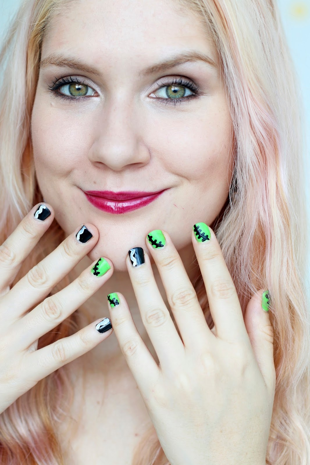 Tutorial for these cute Frankenstein Nails