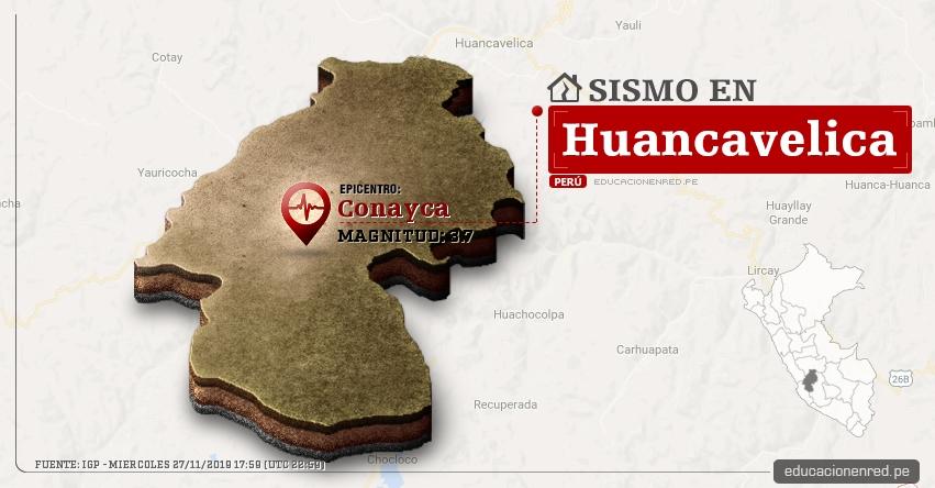 Temblor en Huancavelica de Magnitud 3.7 (Hoy Miércoles 27 Noviembre 2019) Sismo - Epicentro - Conayca - IGP - www.igp.gob.pe