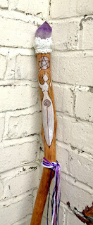Goddess Staff on oak with Amethyst
