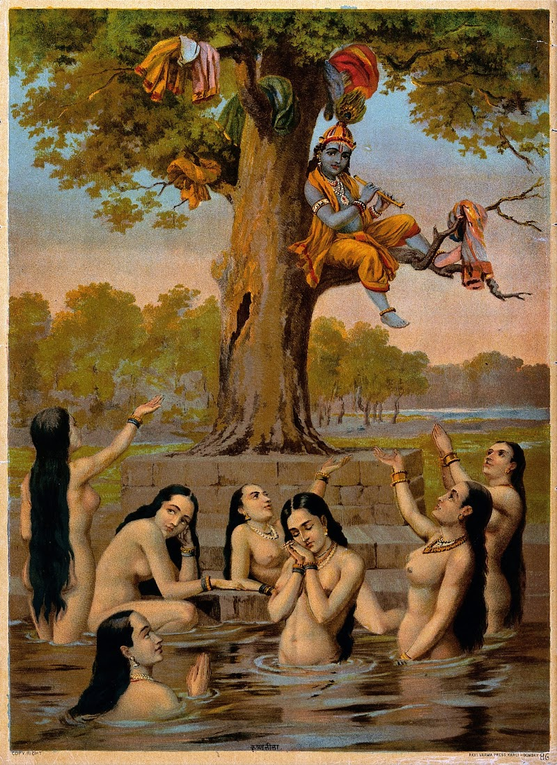 Krishna Sitting in a Tree with all the Gopis Clothes while they Naked in the water, Beg for their Garments - Lithograph Print, Ravi Varma Press