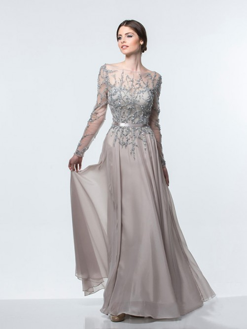 2016 Sexy A Line Scoop Neck Grey Long Sleeves Chiffon Floor Length Backless Prom Dress