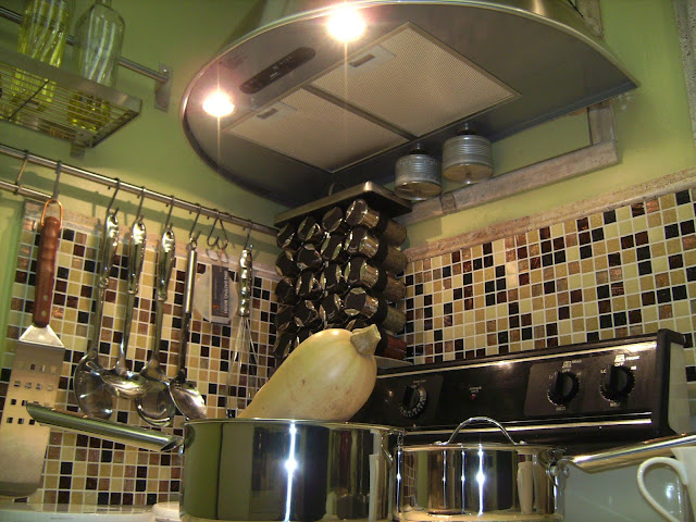 How to Remodel and Decorate a Small Kitchen, adding Utensil Racks, Hood Range