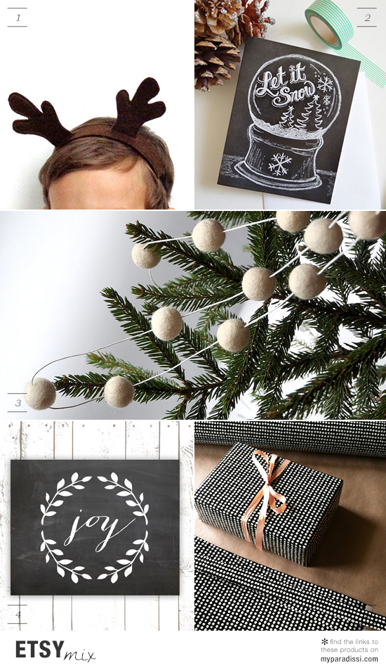 Handmade etsy finds for christmas decoration and presents with a rustic vibe