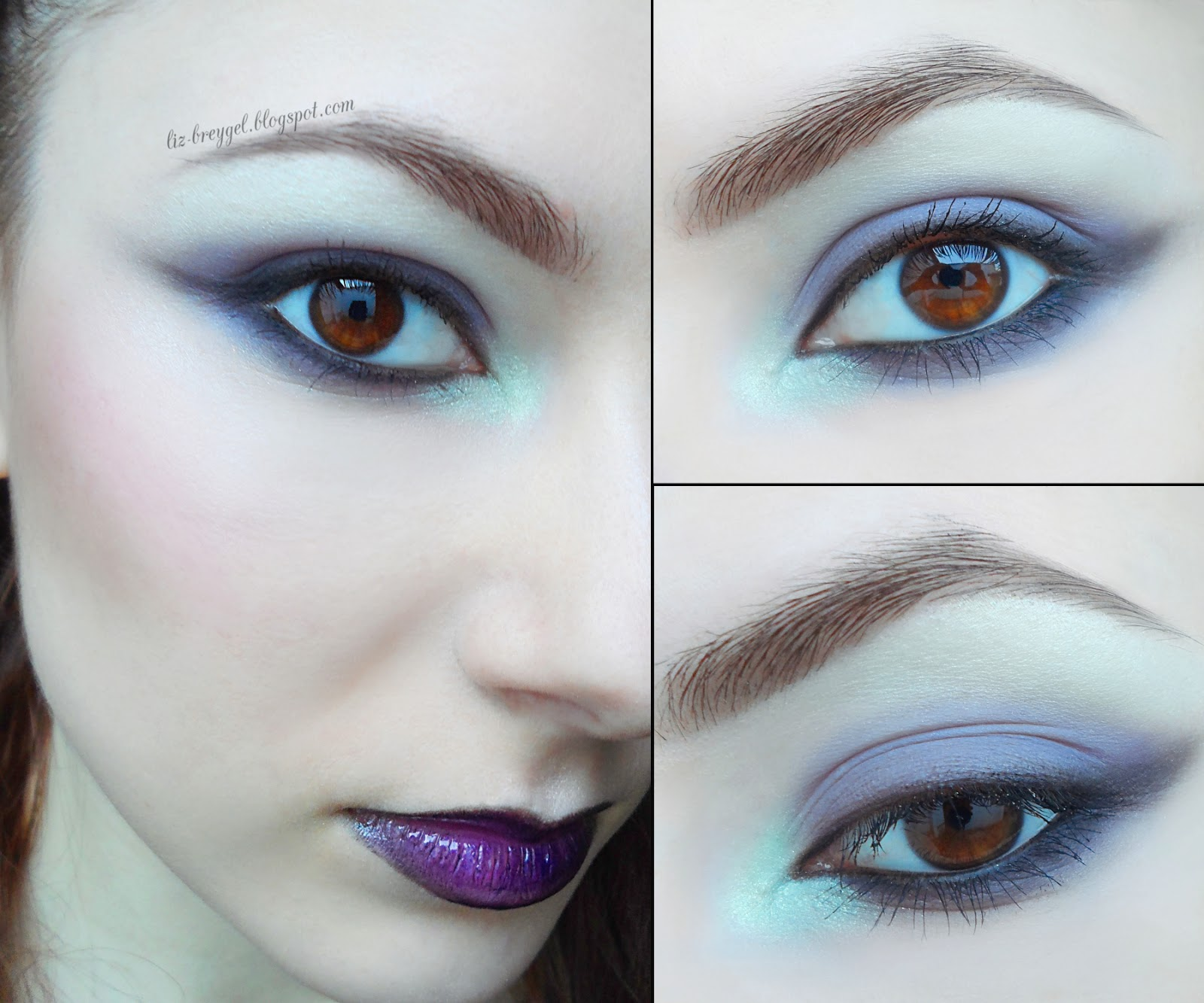 violet purple smoky eyes makeup step by step tutorial