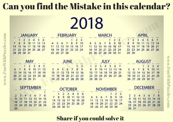 Picture Puzzles to find mistake in given calendar