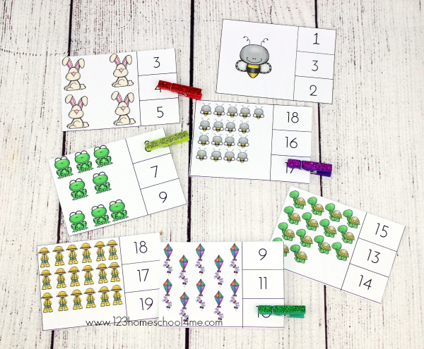 numbers 1-20 count and clip cards