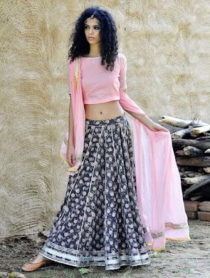 Beautiful Indian Model In Embellished Cotton Lehenga Choli And Dupatta Set Of Three Apparel Tunics Kurtas.