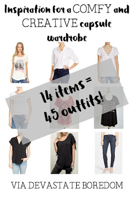 Inspiration for a COMFY and CREATIVE Urban Indie capsule wardrobe - 14 items mix-and-match to 45 outfits - minimalist closet ideas, via Devastate Boredom