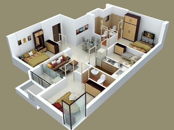 Insight of 3 bedroom 3d floor plans in your house or apartment design - Three bedroom apartment floor plan ...